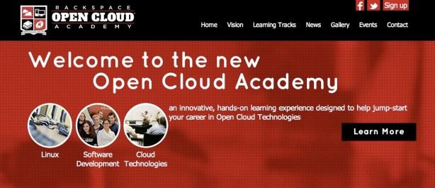 Screenshot from the Open Cloud Academy website: www.opencloudacademy.rackspace.com.