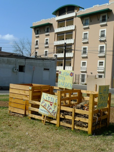 PHOTO 1020914: The compost bins, made from wooden pallets, was the first project at Little Patch Garden. https://www.facebook.com/LittlePatchGarden/  Photo by Catherine Meyrat