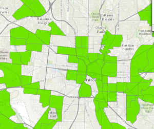 The USDA Food Access showing census tracks in San Antonio that are both low income and low access (more than 1 mile to the nearest grocery store). This was the old measure used to define a food desert.