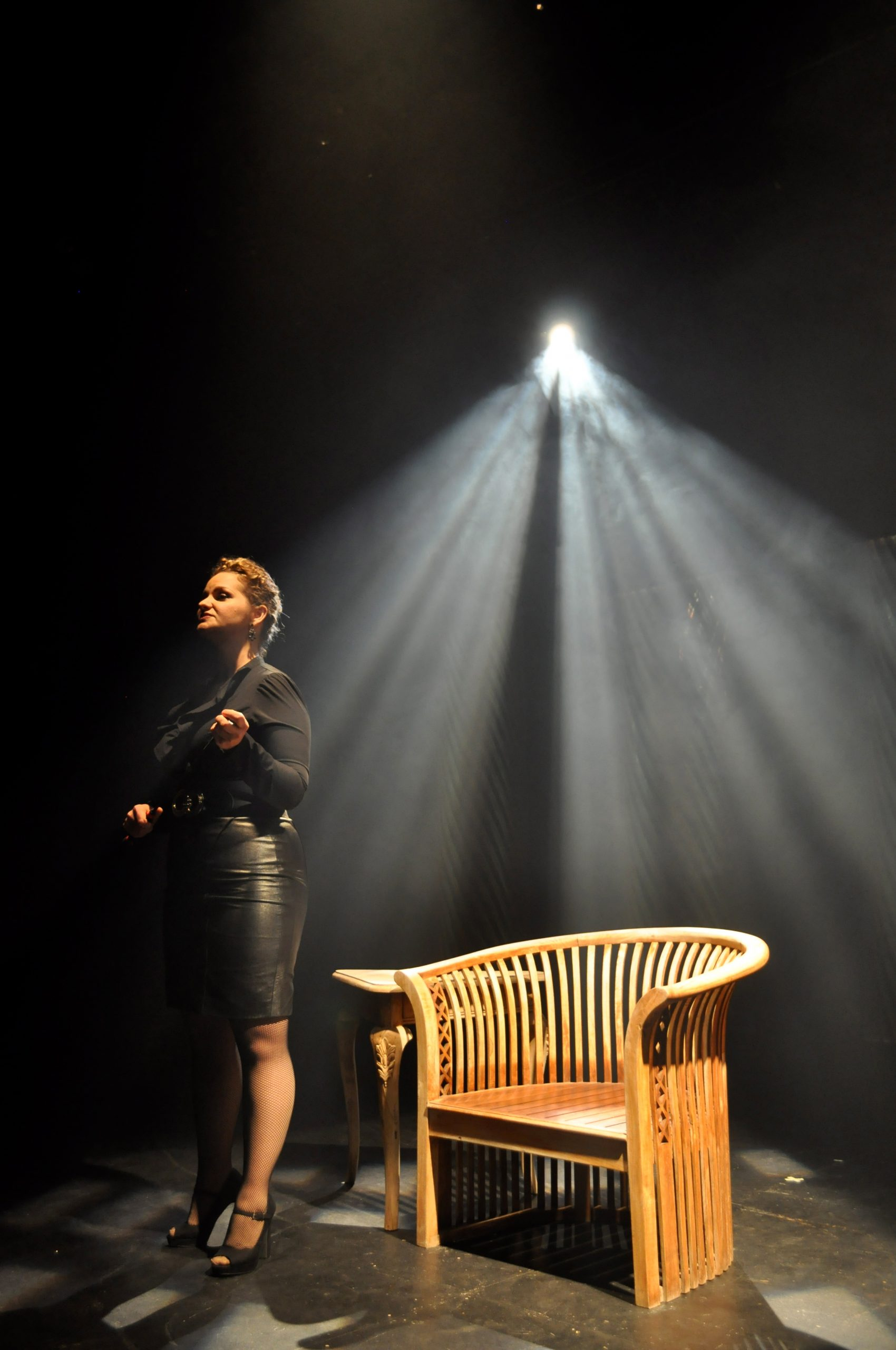"""The dominatrix, portrayed by Brandyn Miller, tells a prospective client about the services she provides and why in Dietrich's """"Hetaerae"""" at Jump-Start Performance Theater. Photo by Iris Dimmick."""