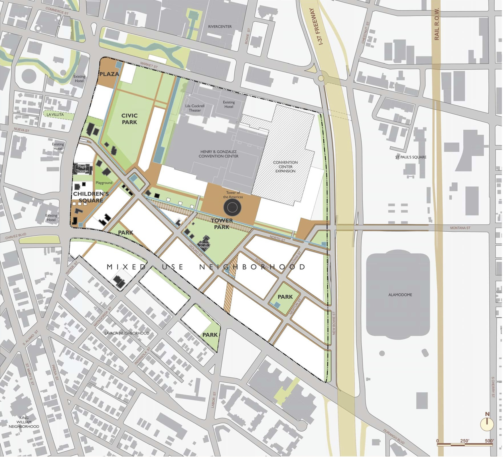 Hemisfair Master Plan conceptualization. Click image to download the master plan.