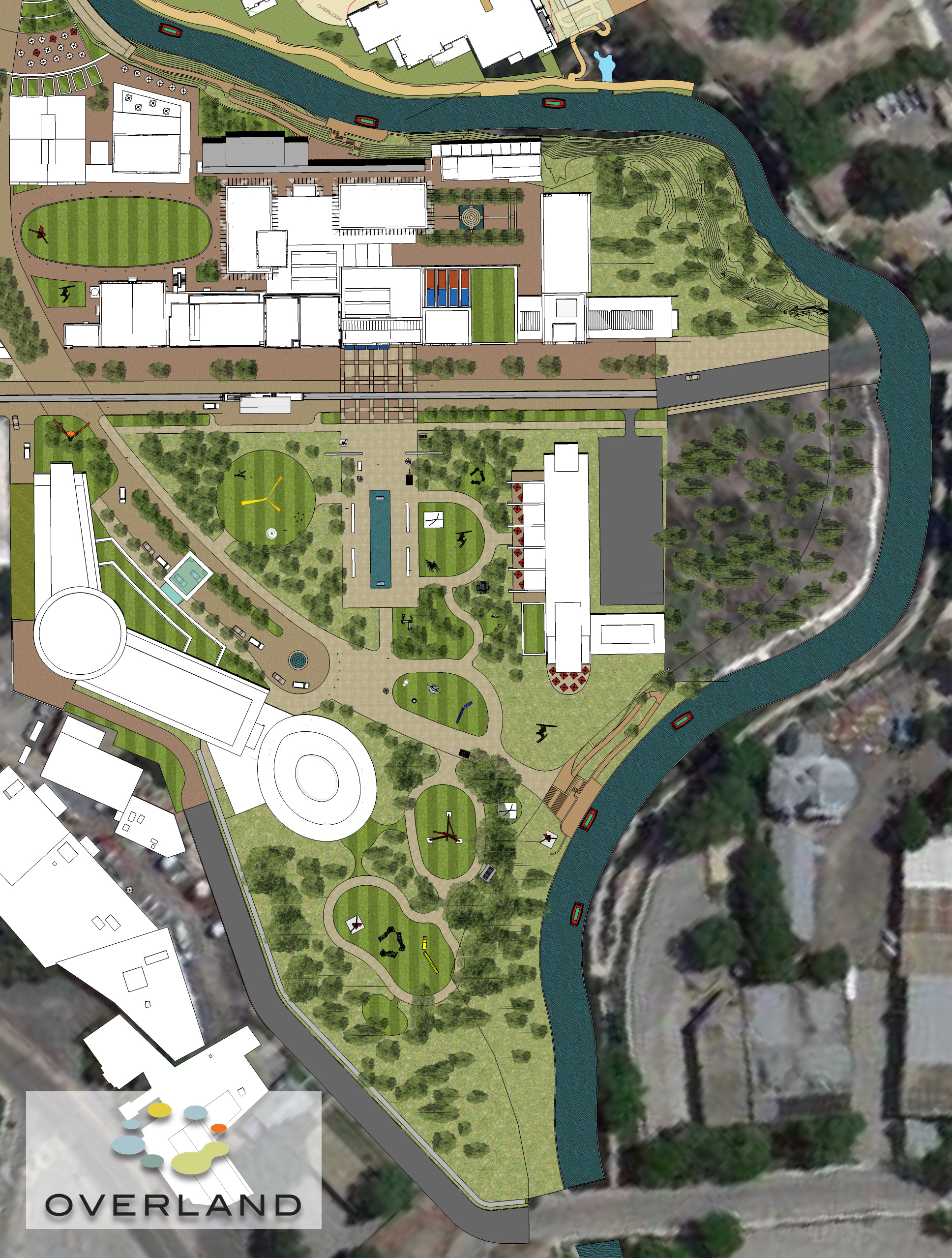 Rendering of a drafted site plan for the future of SAMA. Image created by and courtesy of Overland Partners   Architects. (Click for larger image.)