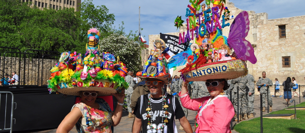"""2013 """"Fiesta Fiesta"""" revelers at the opening ceremony in front of the Alamo Cathedral. Photo by Iris DImmick."""
