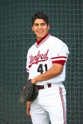Saldaña in his Stanford baseball days. Photo courtesy of Rey Saldaña.