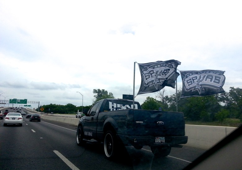 Heading to the NBA Finals with flags flying. Photo by Iris Dimmick.