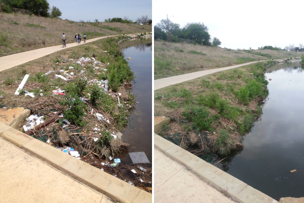 Heavy rain highlights our littering problem on the banks of the Mission Reach (left). A few days later, SARA staff members clean up after us (right). Photos courtesy of SARA.