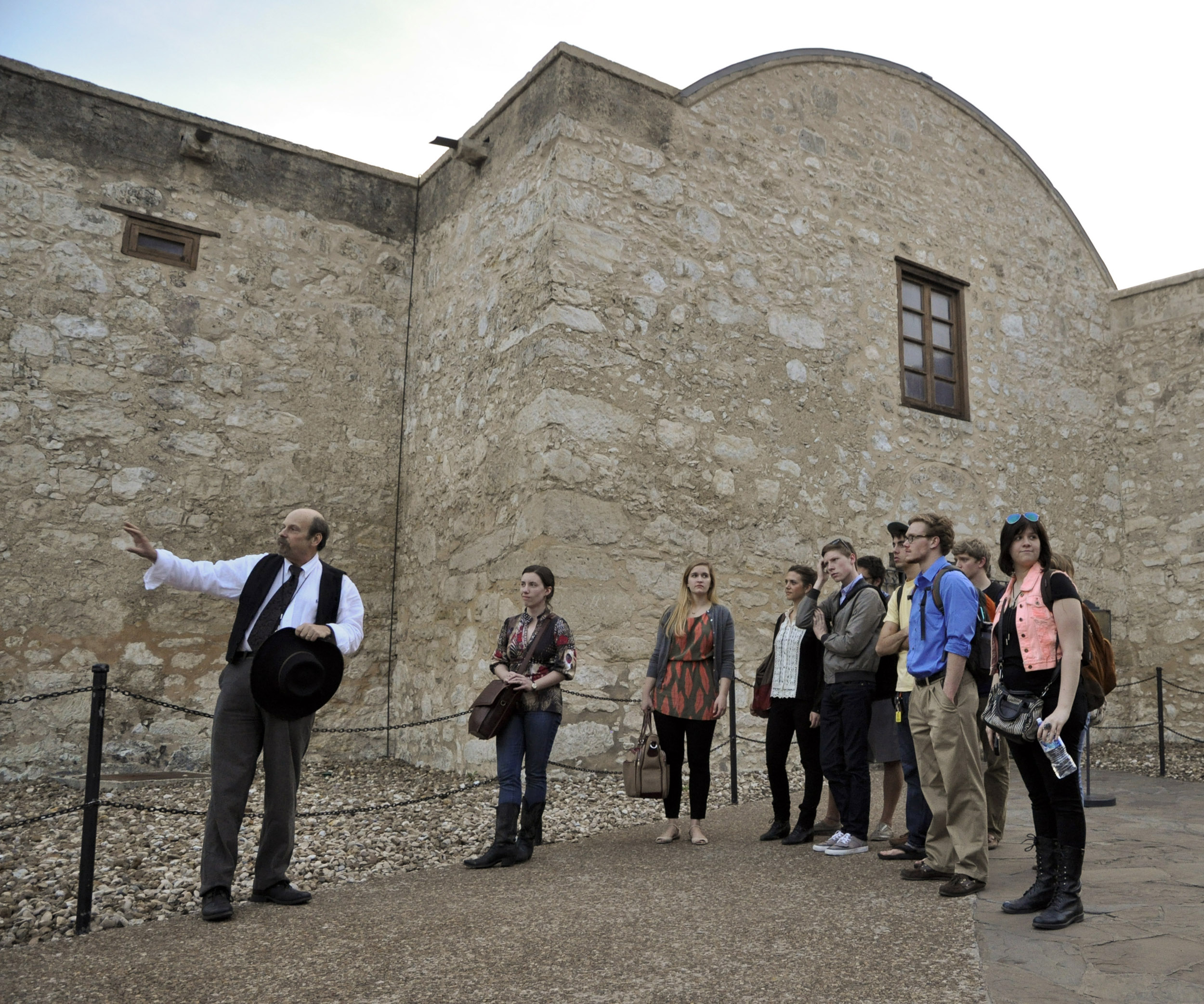 Dr. Bruce Winders gave students an after-hours tour of the historic Alamo site Image courtesy Brantley Hightower.