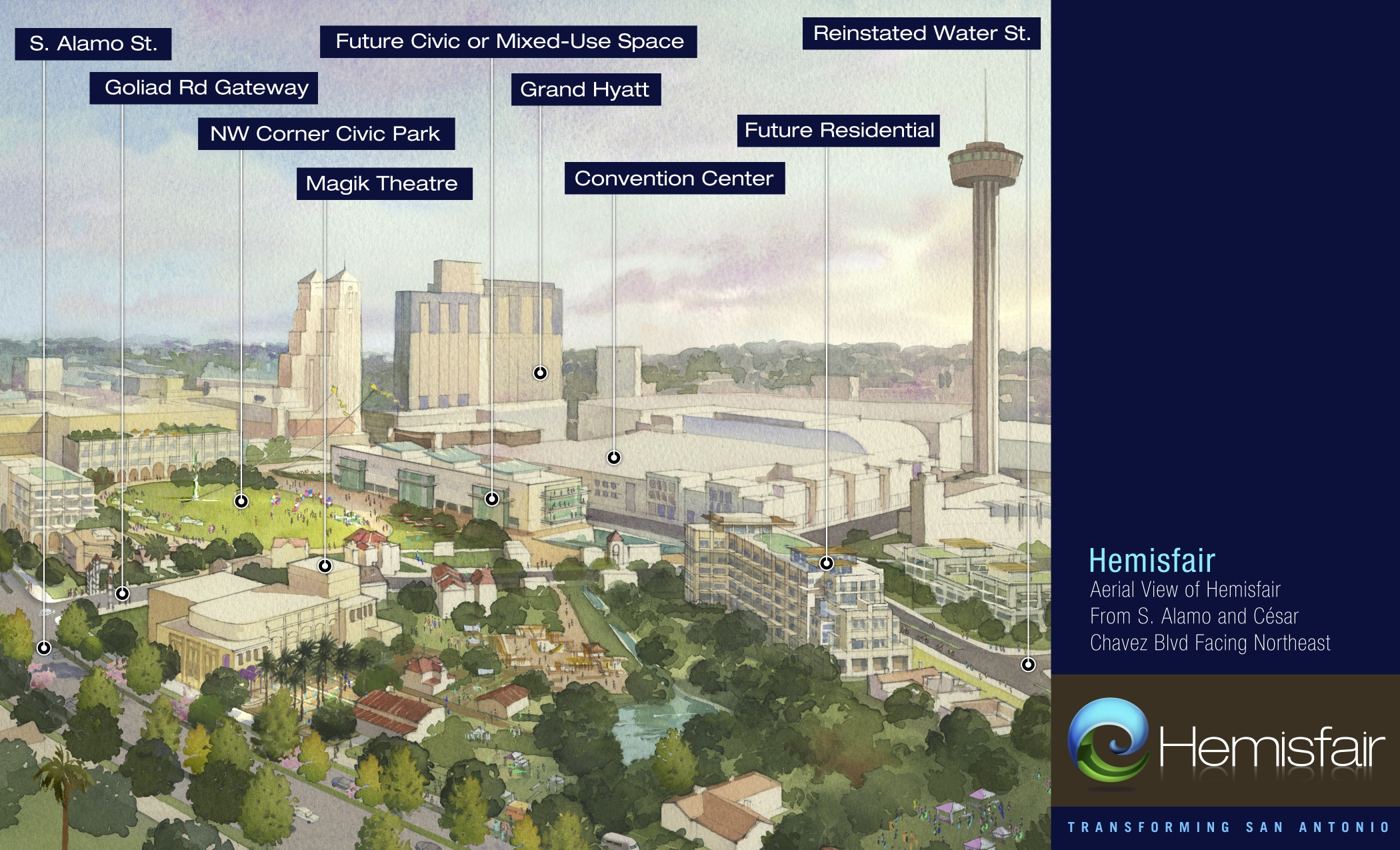 Courtesy rendering of a future version of Hemisfair Park.