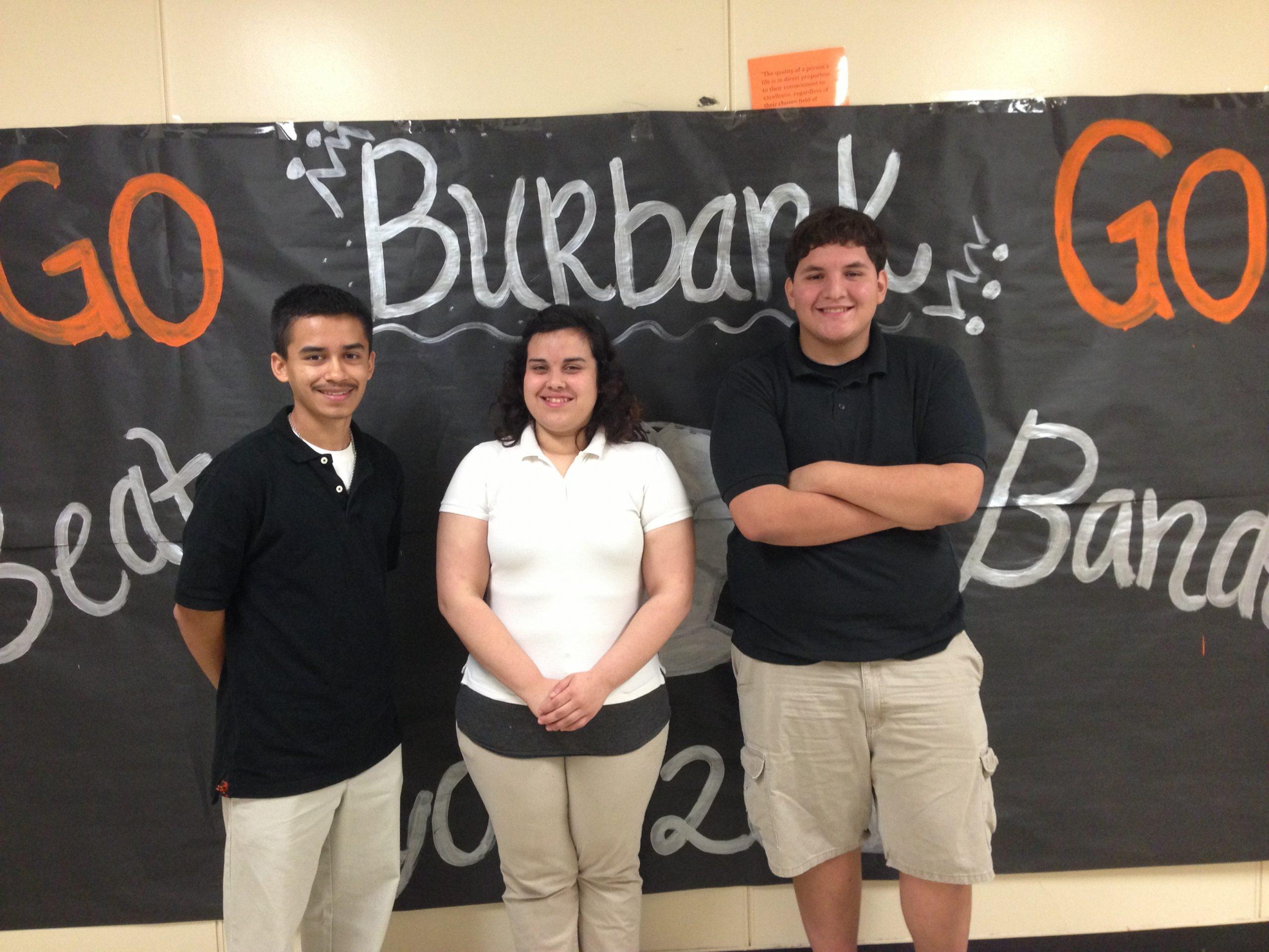 James Garza, Eliza Almeida-Trejo, and Nathaniel Saenz are college bound in a big way - Go, Burbank, Go! Photo by Bekah McNeel.
