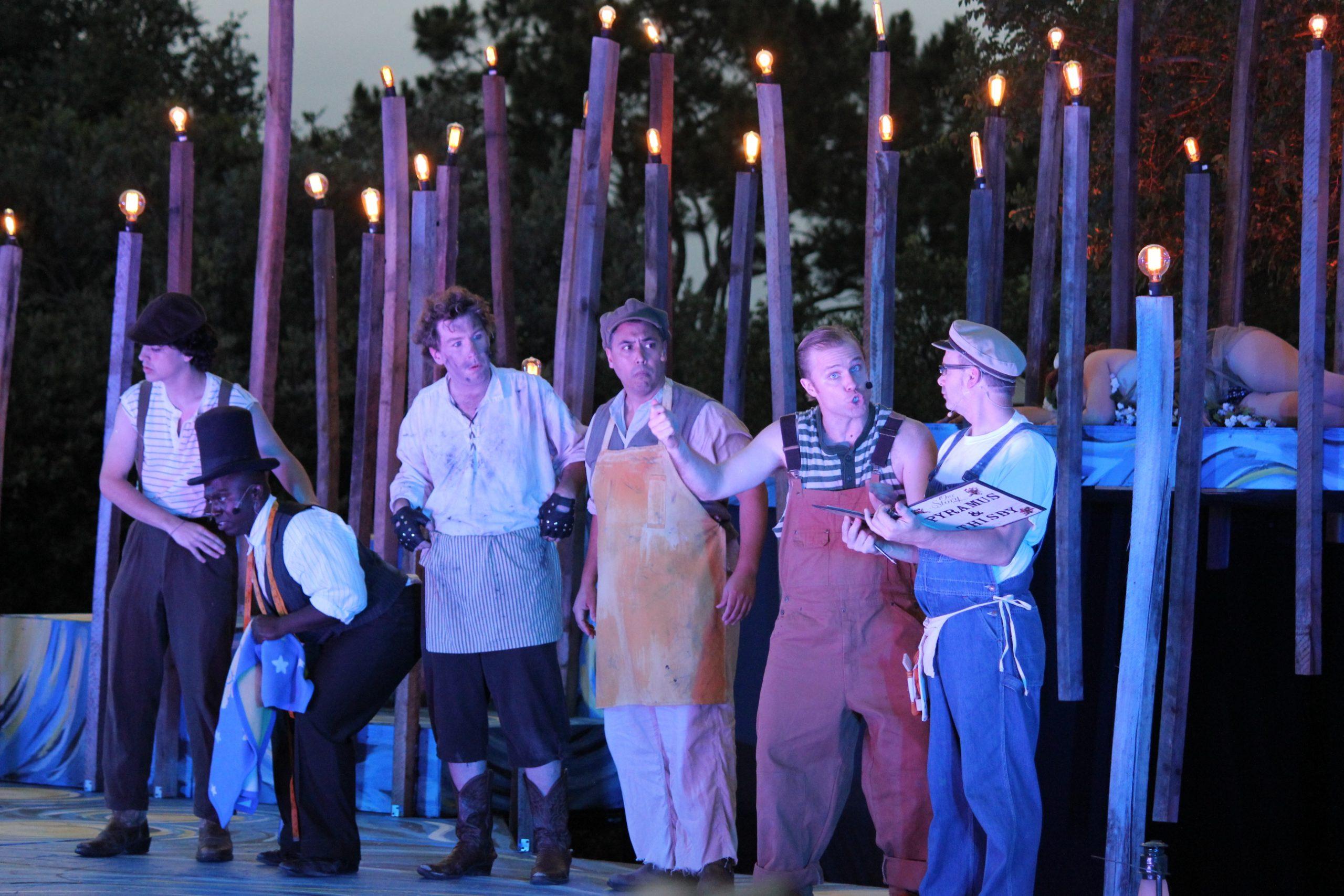 "From left: Magik Theatre actors Alex Berkowitz, Apollo Bradley, Sam Weeks, Sal Valadez, John Stillwaggon and David Ankrom perform Shakespeare's ""A Midsummer Night's Dream"" on stage at the San Antonio Botanical Gardens."