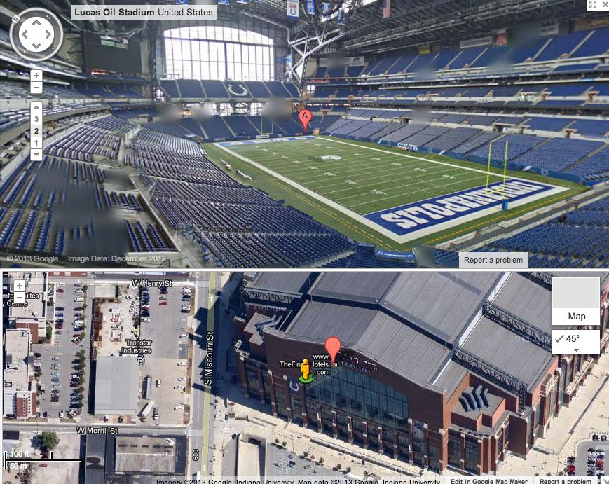Lucas Oil Stadium in Indianapolis. Google Maps screenshot of interior (top) and exterior (bottom).