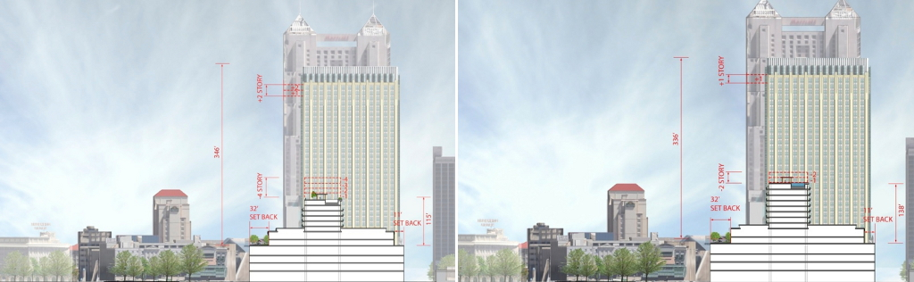 Option One (left) and Option Two (right) project renderings for a hotel tower project on the historic Joske's building. Renderings from Overland Partners as submitted to the Historic Design Review Commission.