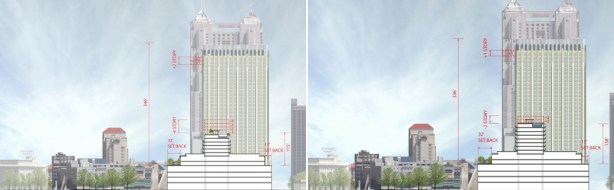 Option One (left) and Option Two (right) project renderings for a hotel tower project on the historic Joske's building. Renderings from Overland Partners as submitted to the Historic and Design Review Commission.