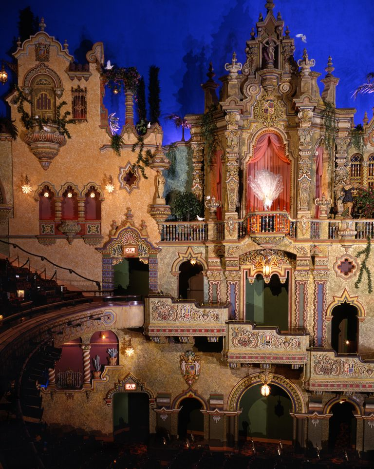 Elaborate decorations and balcony seating await visitors inside the Majestic Theatre.