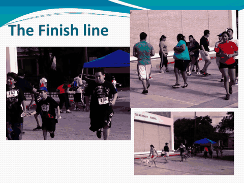 """Finish Line"" slide from Bowden's Fun Run presentation."