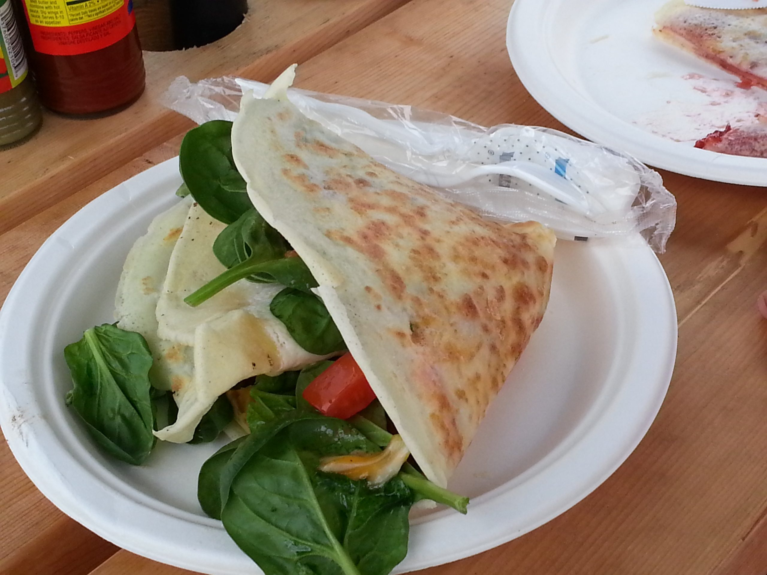 Sunday morning breakfast before shopping at Quarry Farmers Market. Sunrise crepe for me and Strawberry Jam for mini-me. Photo by Georgina Morgan