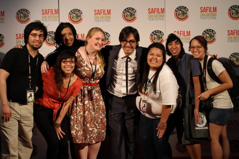 Adam Rocha with interns and volunteers from a previous SA Film Festival.