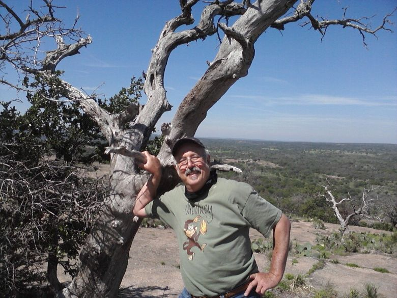 """Don Mathis at the Rock in 2012. """"The age of the climber is porportional to the apparent height of the dome.""""  Photos courtesy of Don Mathis."""