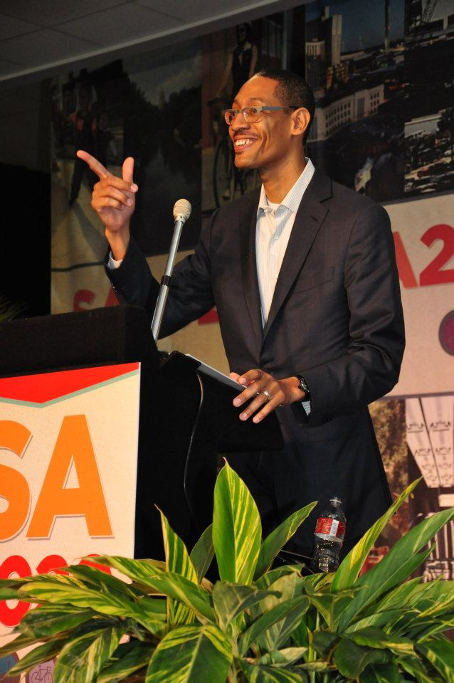 """As SA2020 shifted out of """"planning mode,"""" Darryl Byrd takes the stage in 2012 as CEO at our first public convening. Photo courtesy SA2020."""