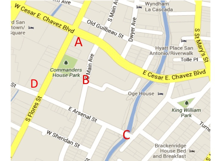 A-Proposed H-E-B grocery store. B-Closure of Main Street between Cesar Chavez Boulevard and East Arsenal Street C-Possible closure of Arsenal Street Bridge to vehicles. Map via Google and Rivard Report staff