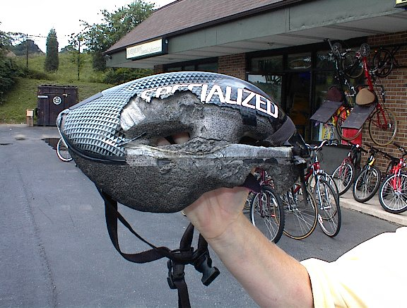 Dorky or brain dead? The owner of this smashed bike helmet probably doesn't feel dorky. Photo courtesy of Tom Remington/Bicycle Helmet Safety Institute.