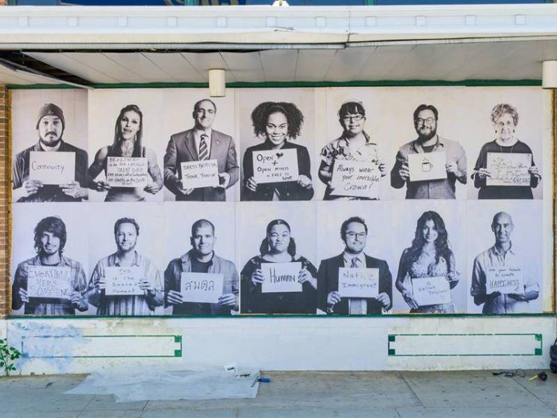 "The ""1005 Faces"" mural at the intersection of South Alamo Street and South St. Mary's Street. Courtesy photo."