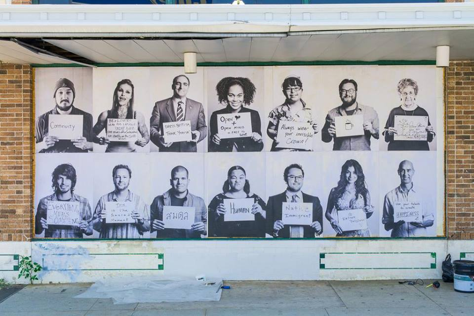 """The """"1005 Faces"""" mural at the intersection of South Alamo Street and South St. Mary's Street. Courtesy photo."""