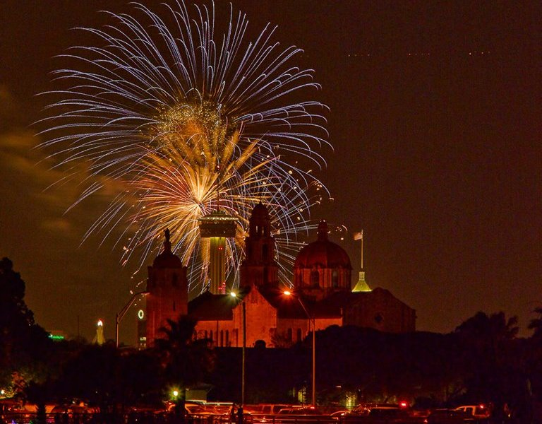 The downtown fireworks at Hemisfair Park, taken from the Woodlawn Lake Park celebration northeast of downtown. Photo by Kevin G. Saunders.