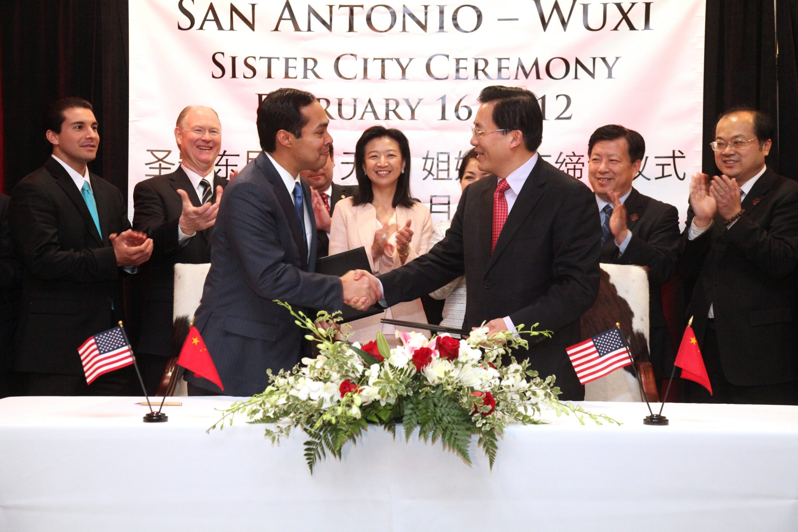 Mayor Julián Castro with Mayor Zhu Kejiang of Wuxi, China after they signed a sister city agreement on Feb 16 2012. Photo courtesy of the City of San Antonio's International Relations Office.