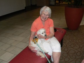 This lady wanted an older dog and found the perfect match at the AAPAW Adoption Event at Rolling Oaks Mall in 2009.