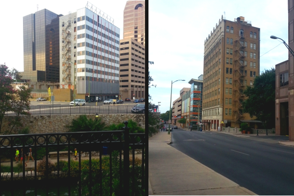 Two very similar buildings reside on either side of the San Antonio River downtown. One is entirely vacant. The other, the Exchange Building, is an apartment complex and home to two restaurants. Photos by Iris Dimmick.