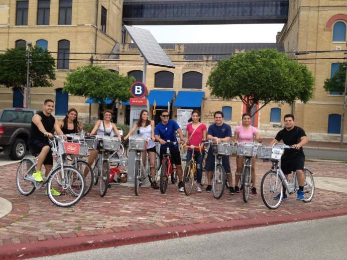 Friends and family bond on bikes, in this case at the San Antonio Museum of Art. Photo courtesy San Antonio B-cycle.