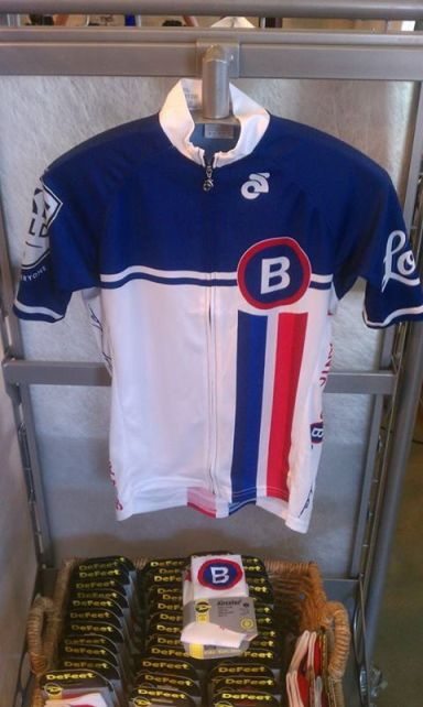 The new B-cycle jersey available at Bike World and the B-cycle hub for $59.99. Photo by August Sullivan.