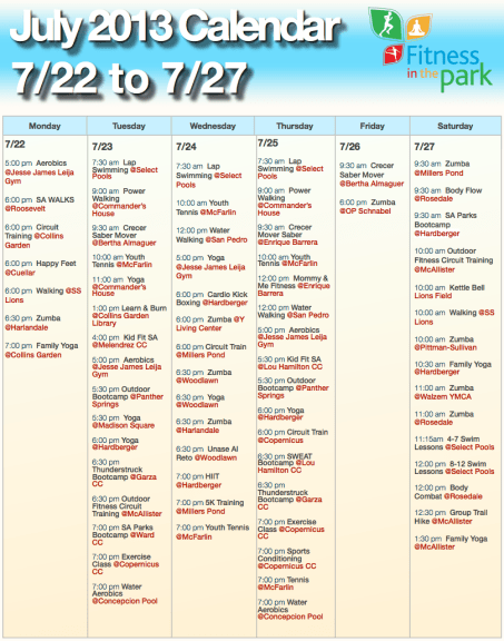 A quick look at just one week of what Fitness in the Park has to offer.