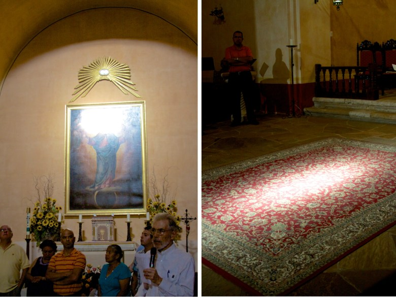 Small windows allow two beams of light to illuminate the Virgin Mary's face and altar floor at 6:30 p.m. every Aug. 15 for the Assumption of the Virgin Mary into Heaven at Mission Concepción. Photo by Iris Dimmick.