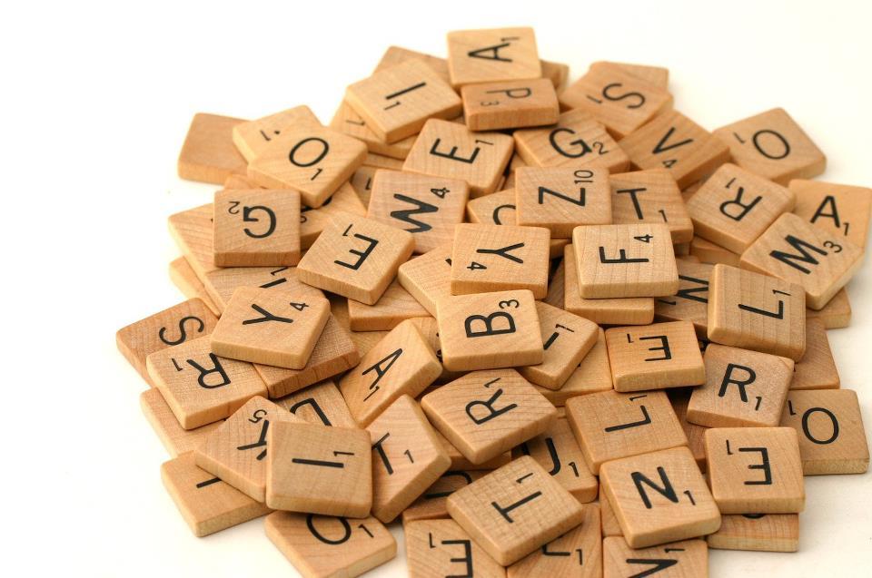 A set of 102 Scrabble tiles. Public domain imaage.