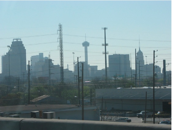 """Downtown San Antonio on a particularly smoggy day. Technically """"smog"""" is ground level ozone. Photo courtesy of SA Clean Technology Forum."""