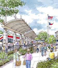 """Render of a proposed high-speed commuter rail system, running from Round Rock north of Austin down to the Southside. The """"Brain Train"""" connects all major universities from Austin to San Antonio. Courtesy photo."""