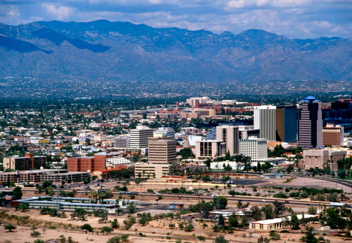 Tucson, Arizona, with the Santa Catalina Mountains in the background. Public domain photo.