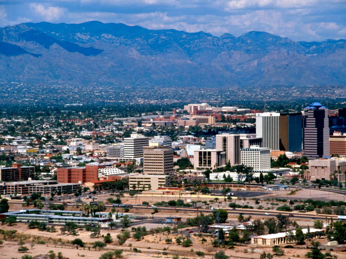 Tucson, Arizona, with the Santa Catalina Mountains in the background. Public domain photo.