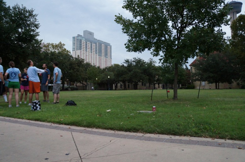 A Downtown Kickball team gathers before the start of a fall 2012 season game in Hemisfair Park. Photo by Vanessa Mulholland.