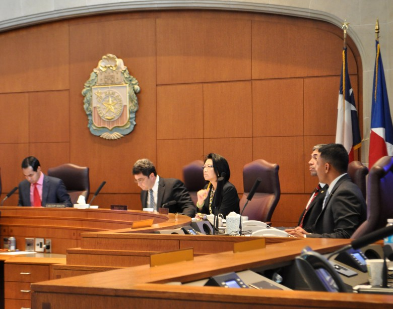 From left: Mayor Castro, Council members Soules, Chan, and Lopez discuss the NDO. Photo by Iris Dimmick.