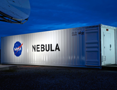 The Nebula cloud computing container located at NASA Ames Research Center. Courtesy of NASA.