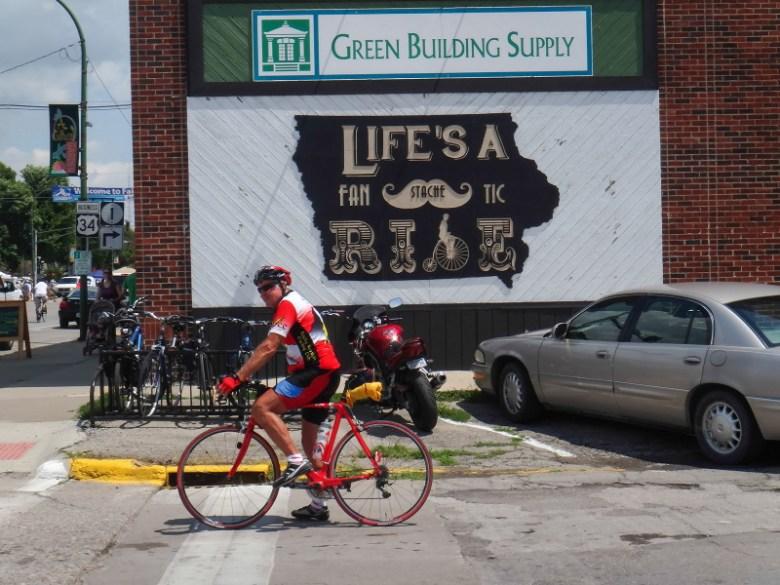 Fairfield, Iowa, with its own bike slogan. Photo by TJ Kent.