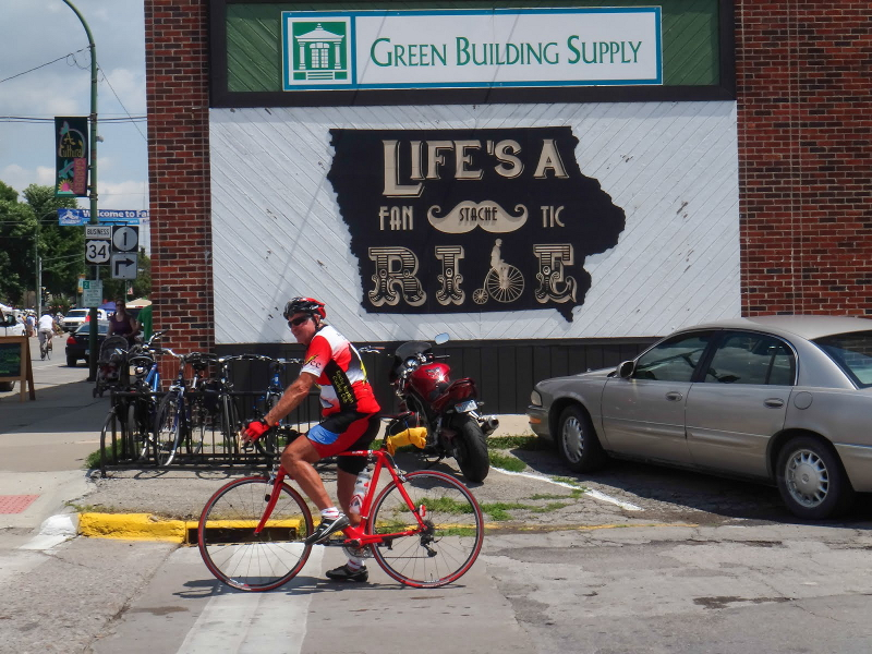 Fairfield, Iowa, with its own bike slogan. Photo by TJ Kent.