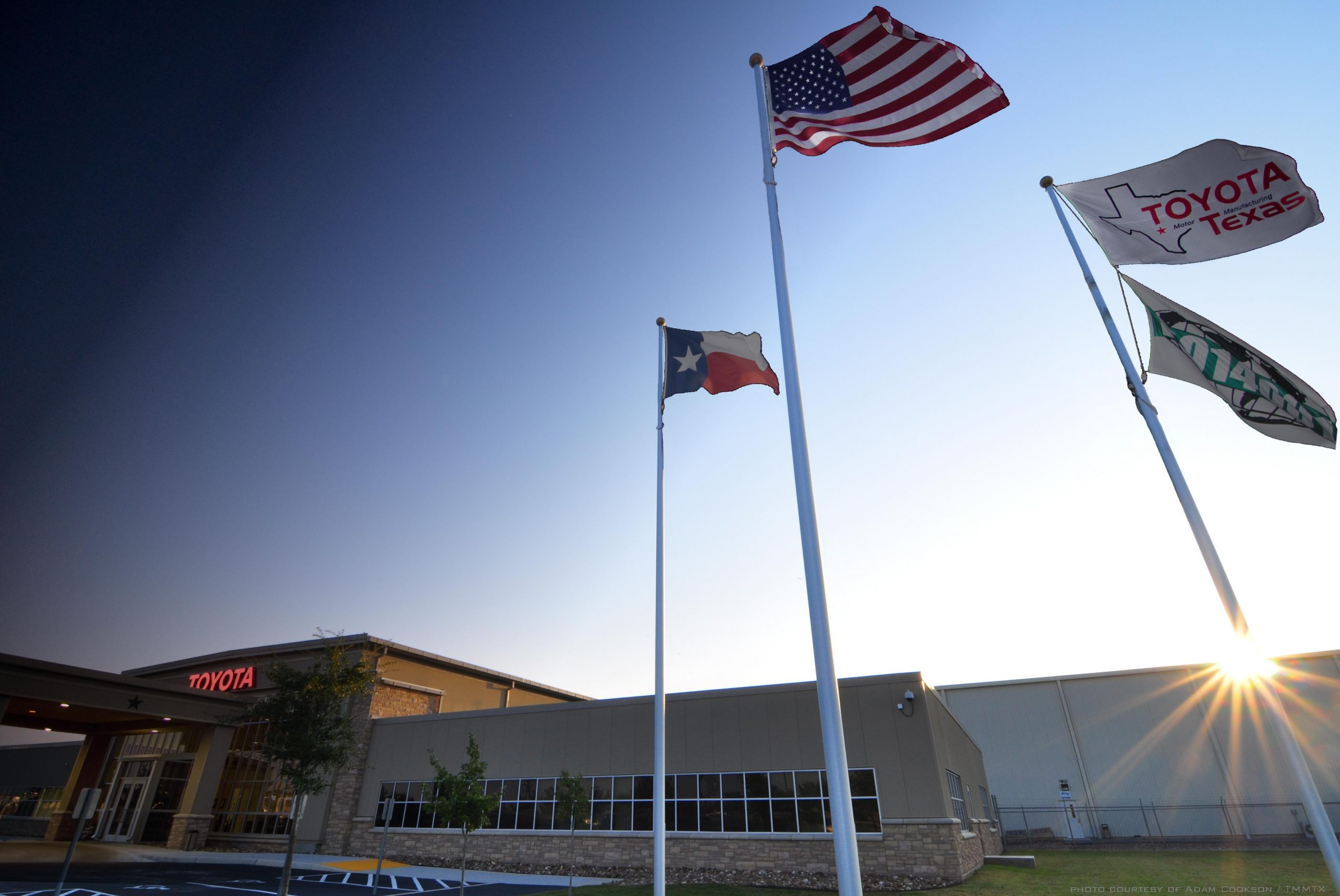 Toyota motor manufacturing plant at dawn. Photo courtesy of Toyota Texas.