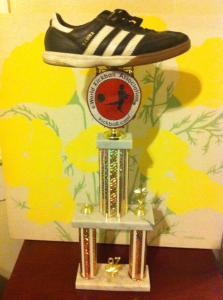 Downtown Kickball trophy proudly displayed at Alamo Street Eat Bar. Courtesy photo.