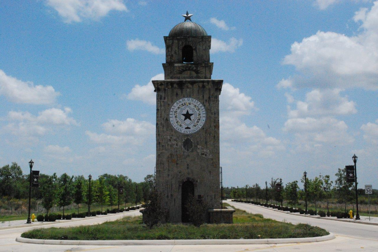 The Torre de Esperanza, the Tower of Hope, stands at beginning of University Way, the mile-long boulevard that leads to Texas A&M University-San Antonio from Loop 410. Lined with young trees and banners showcasing the university's core values of Excellence, Service, Commitment and Integrity, the drive offers visitors a view of the changing landscape of the Southside as the university's construction changes daily.
