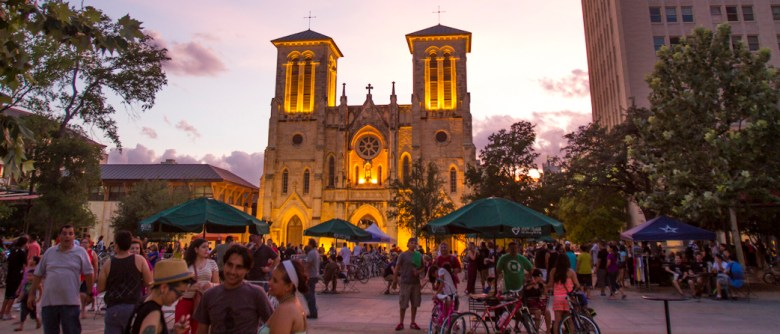 Main Plaza during Bike/Beat, a mini-cycling festival in the heart of downtown San Antonio. Photo by Steven Starnes.