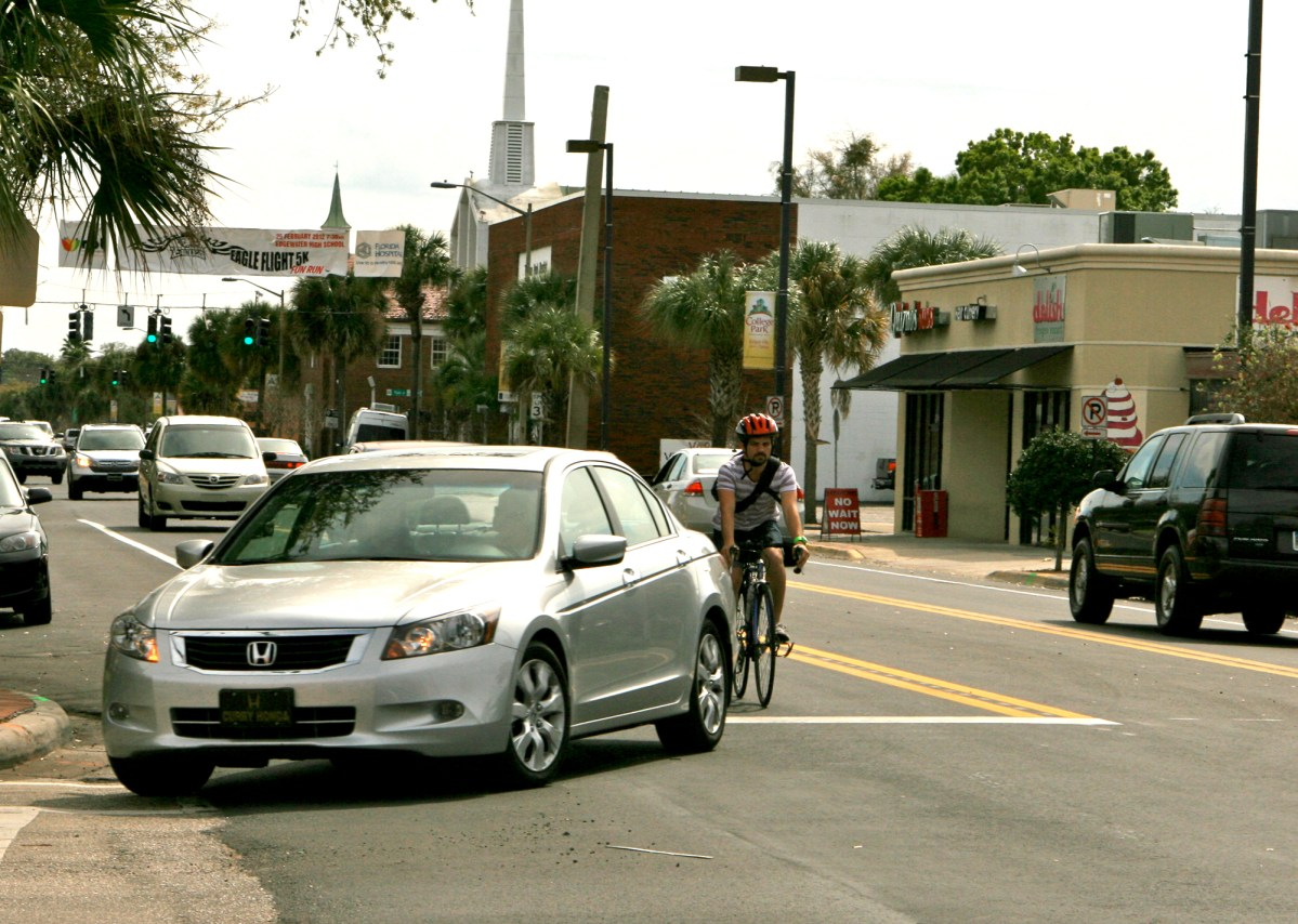 Example of controlling the lane – using the road like other drivers. Photo by Keri Caffrey. Used with permission.